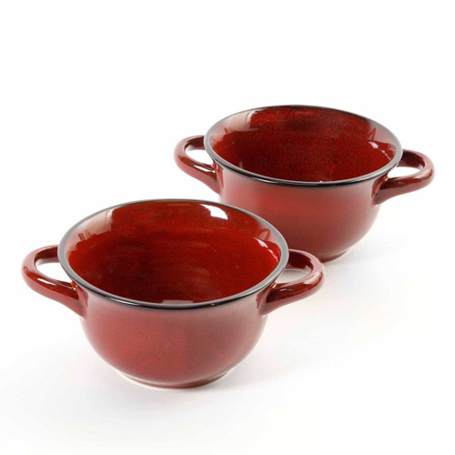 CrockPot 27-Ounce Double Handle Soup Bowls, Set of 2, Red