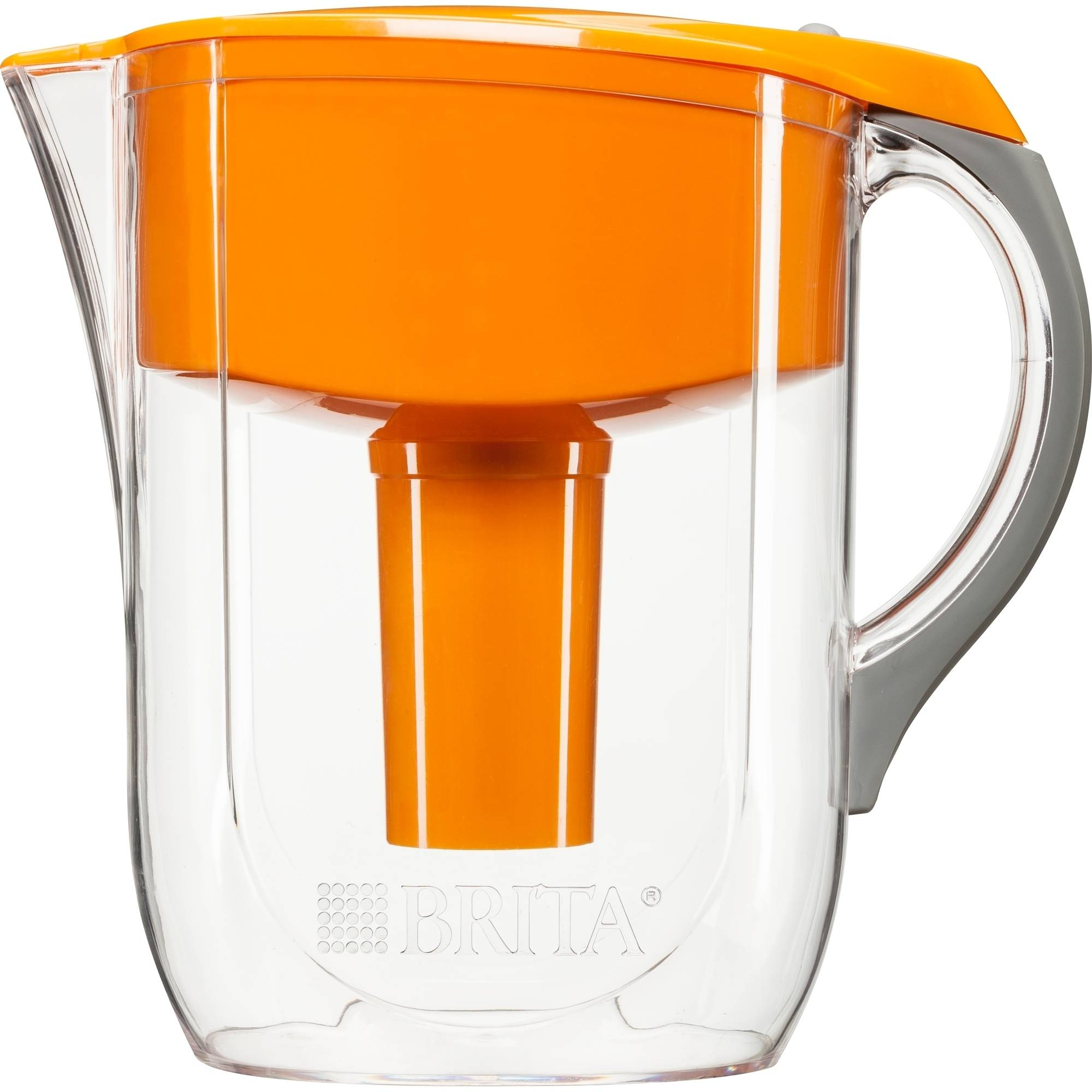 Brita Grand Water Filtration Pitcher, Orange, BPA Free