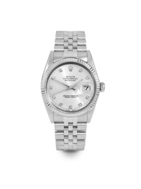Pre Owned Rolex Datejust 16014 w/ Silver Diamond Dial 36mm Men's Watch (Certified Authentic & Warranty Included)