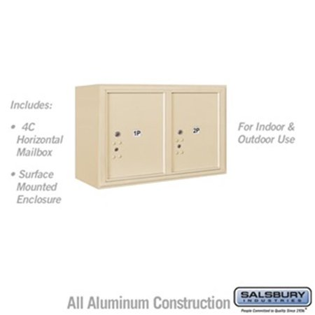 Salsbury 3805D-2PSFU 21-0.125 in. 5 Door High Unit Double Column Stand Alone Parcel Locker 2 PL5s Front Loading Surface Mounted 4C Horizontal Mailbox Unit, Sandstone - USPS Access
