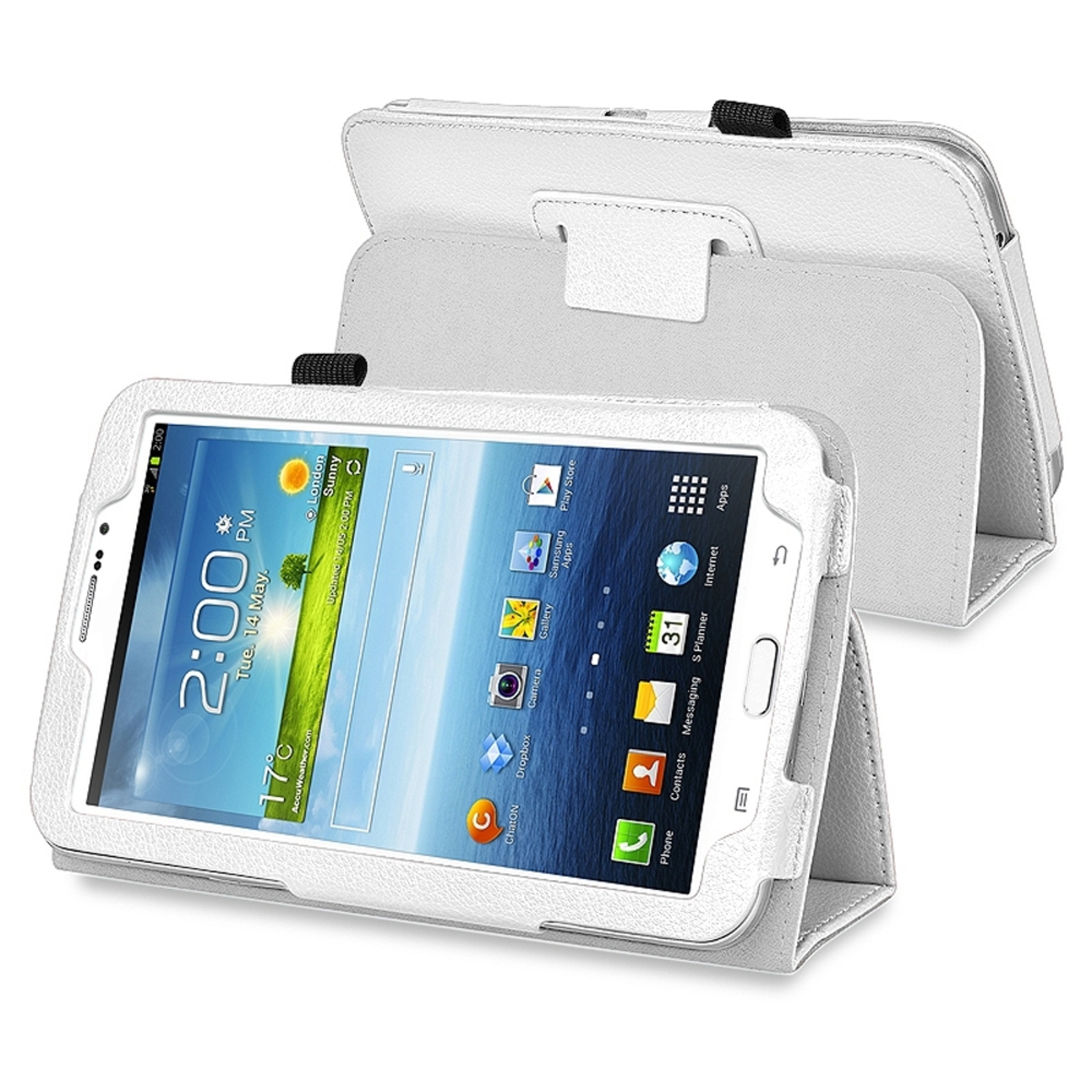 Insten Leather Case with Stand For Samsung Galaxy Tab 3 7.0 P3200, White
