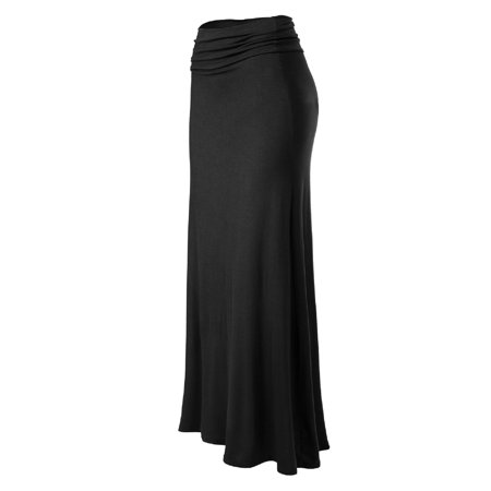 Made by Olivia Women's Basic Foldable High Waist Regular and Plus Size Maxi Skirts Black L - Plus Size Hippie Skirts