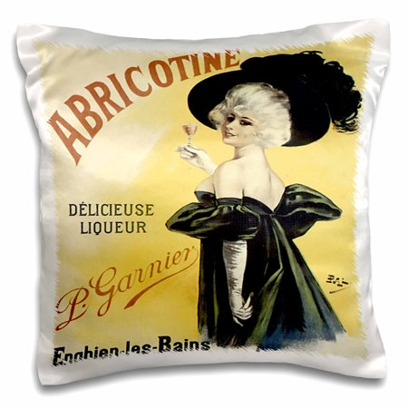 3dRose Vintage Abricotine Delicieuse Liqueur French Advertising Poster - Pillow Case, 16 by 16-inch