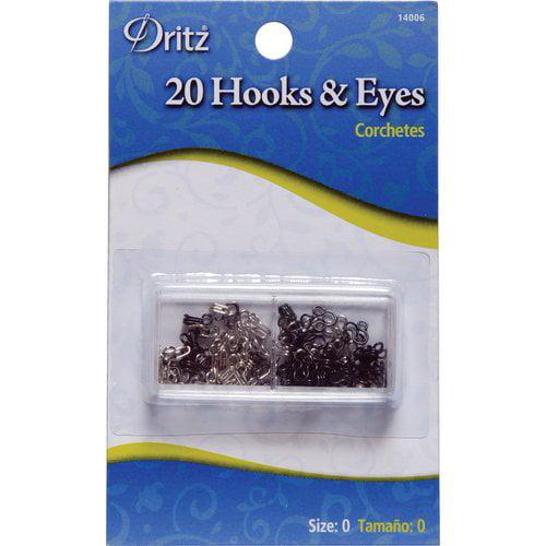 Hooks and Eyes, 20pk, Black and Nickel