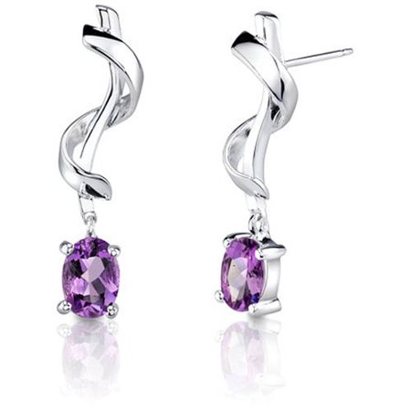 1.50 Carat T.G.W. Oval-Shape Amethyst Rhodium over Sterling Silver Stud Earrings