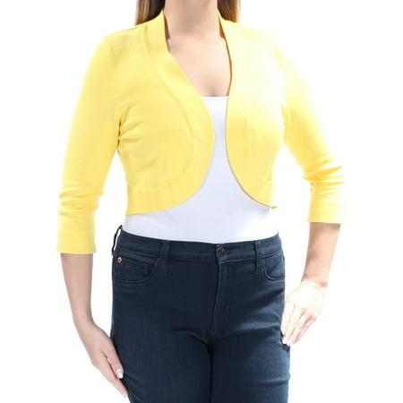 - JESSICA HOWARD Womens Yellow 3/4 Sleeve Open Cardigan Wear To Work Sweater  Size: L