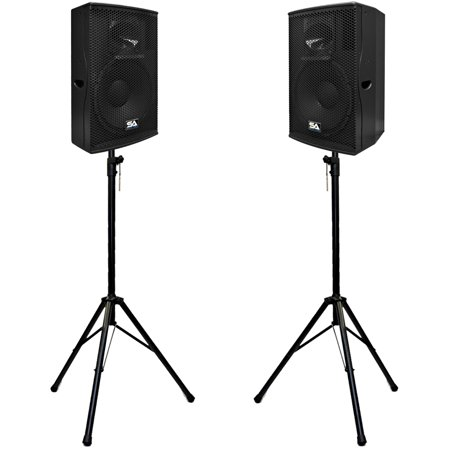 "Seismic Audio Pair of Powered 15"" 2-Way PA Loudspeakers with two Tripod Speaker Stands... by"