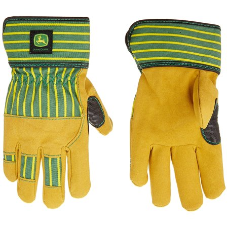 Kid's Everyday Work Yellow and Green Gloves, Faux leather palm for durability and comfort By (Faux Leather Durability)