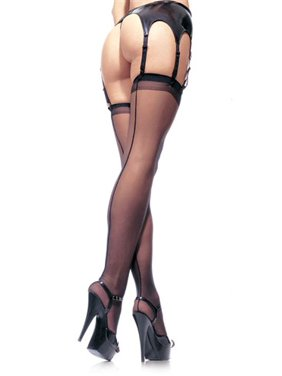 Women's Sheer Stockings with Back Seam,Black, One Size