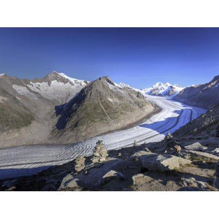 Switzerland, Valais, Jungfrau Region, Aletsch Glacier from Mt; Eggishorn (Unesco Site) Print Wall Art By Michele (Best Place To Stay In Jungfrau Region)