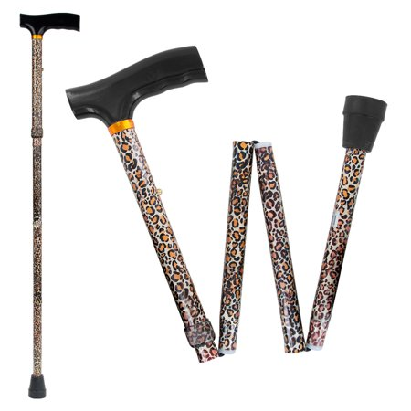White Canes Blind - Drive Medical Lightweight Adjustable Folding Cane with T Handle, Leopard