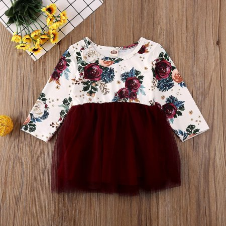 Infant Toddler Baby Girl Floral Princess Dress Long Sleeve Flowers Tulle Skirt Party Dresses Outfit - image 3 de 5