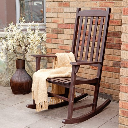 Adult Sized Rocking Chair (Coral Coast Indoor/Outdoor Mission Slat Rocking Chair - Dark Brown)