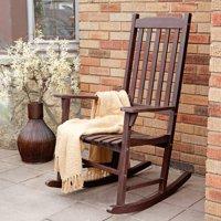 Coral Coast Indoor/Outdoor Mission Slat Rocking Chair - Dark Brown