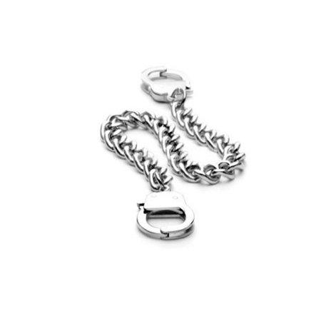 iJewelry2 Silver Tone Stainless Steel Chain Bracelet with Interlocking Handcuffs 8