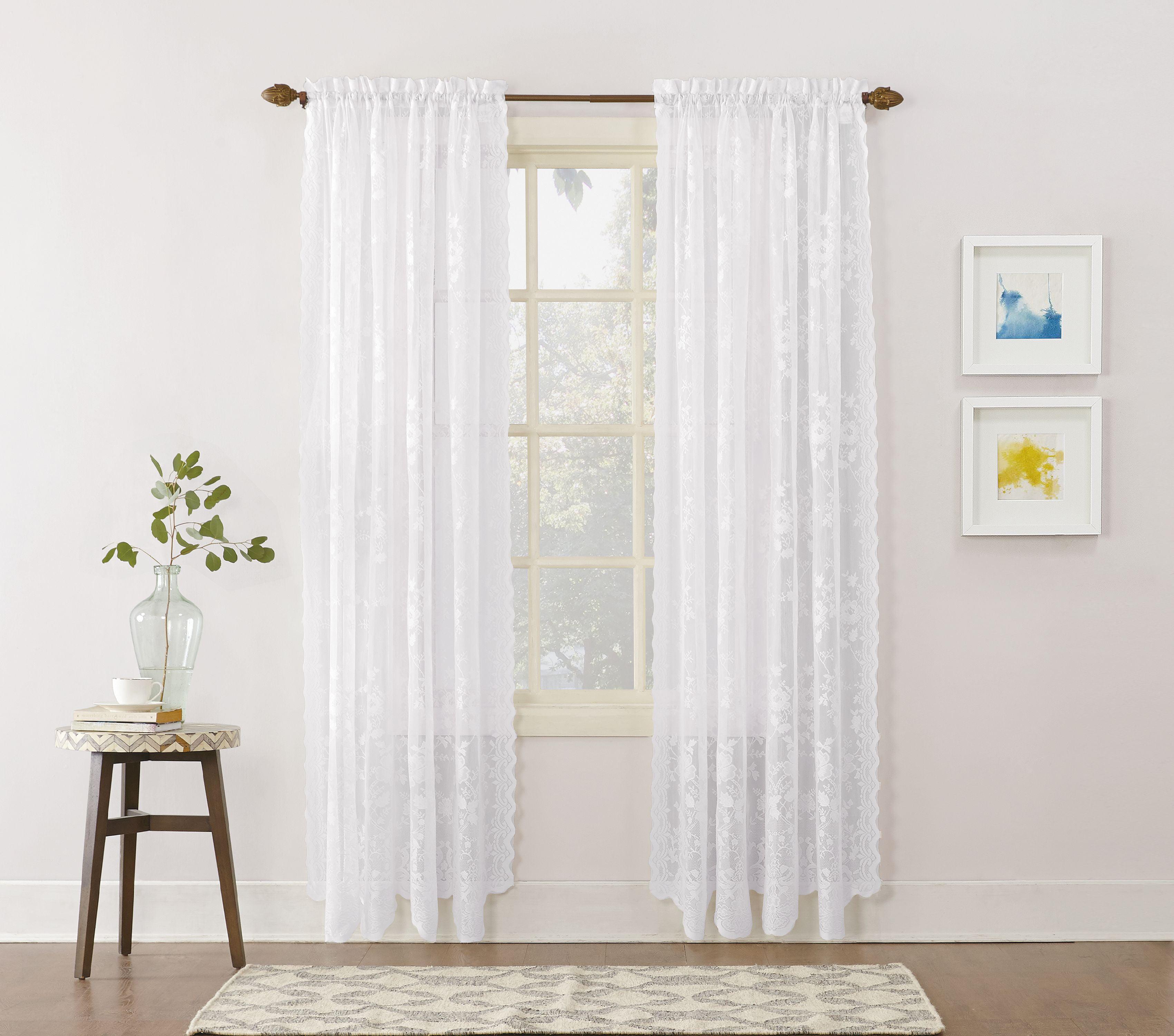 No 918 Quinn Floral Lace Sheer Rod Pocket Curtain Panel Walmart Com Walmart Com