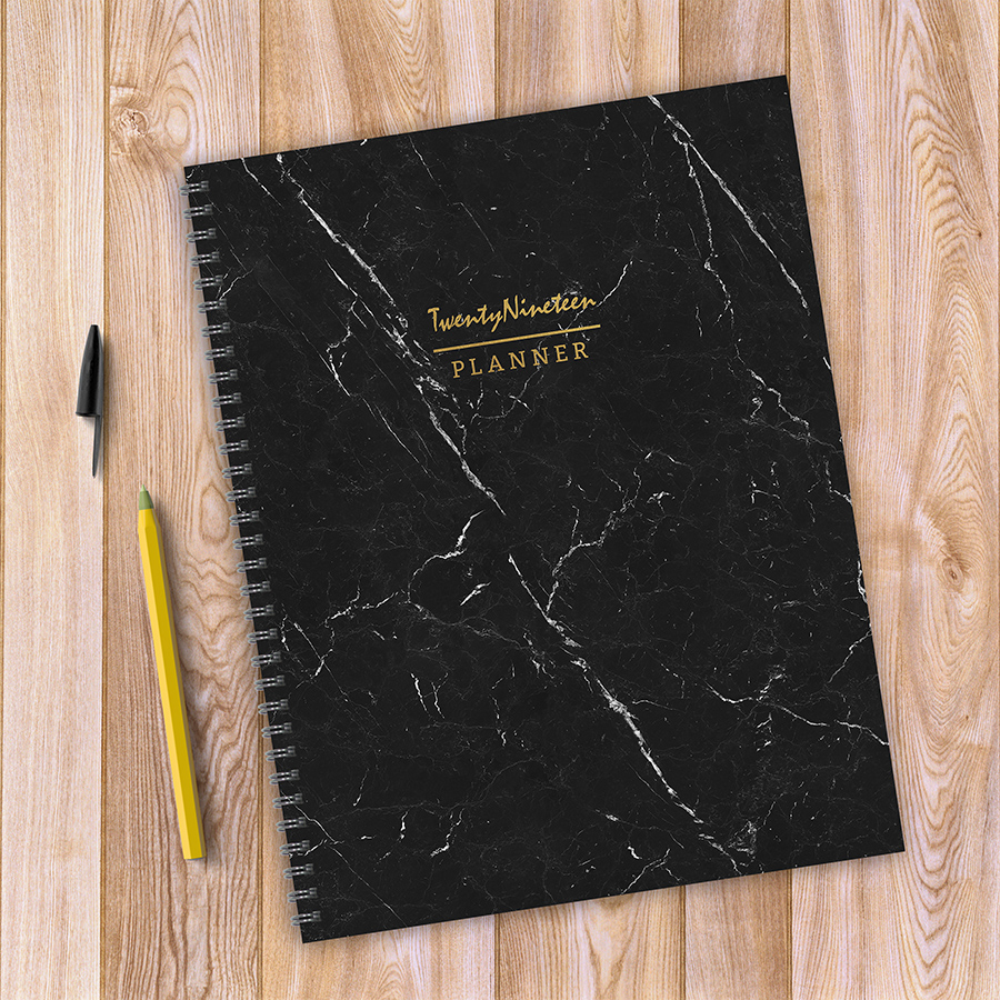 """2019 Marble 9"""" x 11"""" January 2019-December 2019 Large Weekly Monthly Planner"""