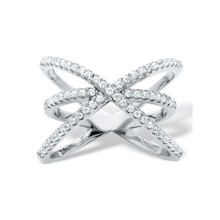 .57 TCW Micro-Pave Cubic Zirconia Crossover Cocktail Ring in .925 Sterling - Sterling Silver Crossover Ring