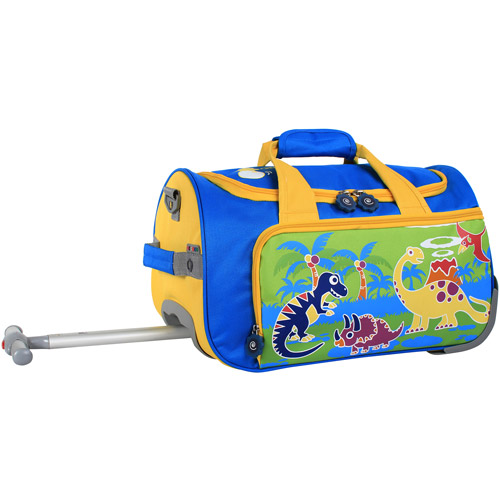 "J World Dino II Kids 17"" Rolling Duffel Bag, Blue/Green"