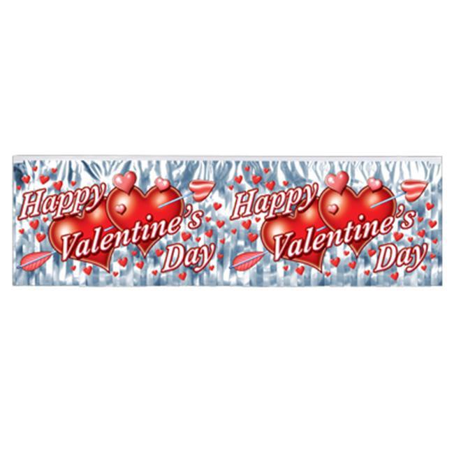 Beistle - 77493 - FR Metallic Happy Valentines Day Fringe Banner- Pack of 12