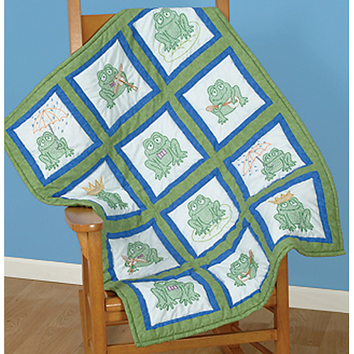 "Jack Dempsey Frogs Themed Stamped White Quilt Blocks, 9"" x 9"""