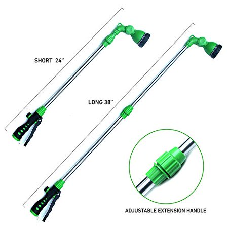 "EasyGo Telescopic Watering Wand Telescopes from 24"" to 38"" with 8-Pattern Water Nozzle Sprayer with Ergonomic Squee"