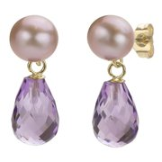 DaVonna  14k Gold Amethyst and Pink 6-6.5mm FW Pearl Earrings with Gift Box