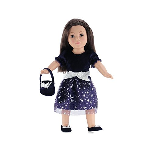 18 Inch Doll Clothes | Purple Holiday Dress Outfit with Silver Stars, Includes Velvet... by Emily Rose Doll Clothes