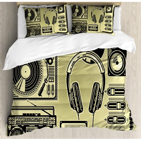 Hip Hop Queen Size Duvet Cover Set, Electronic Music Devices as Turntable Headphones Speaker for Recording, Decorative 3 Piece Bedding Set with 2 Pillow Shams, Pale Yellow and Black, by (Best Speakers For Hip Hop Music)