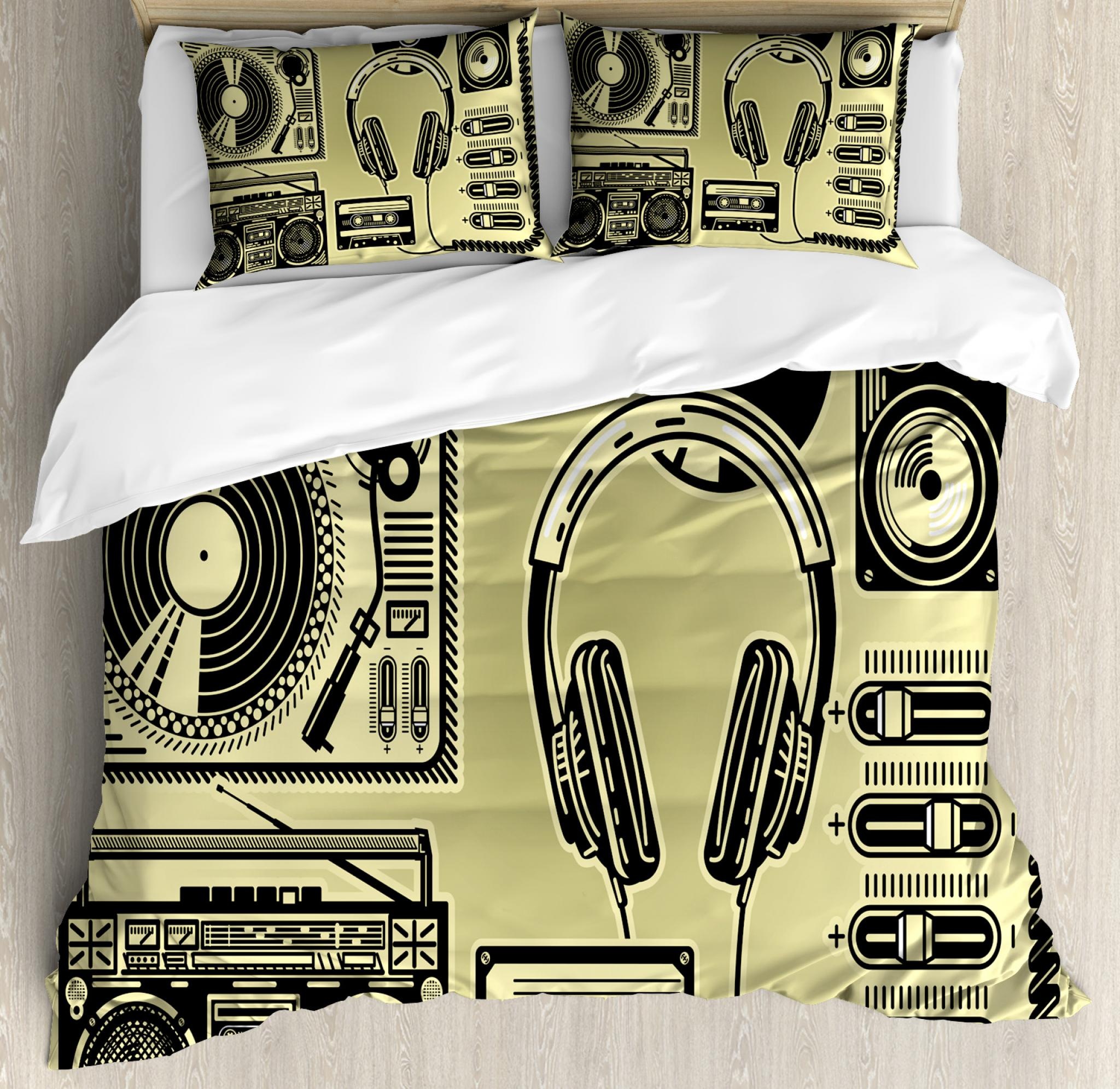 Hip Hop Queen Size Duvet Cover Set, Electronic Music Devices as Turntable Headphones Speaker for Recording, Decorative 3 Piece Bedding Set with 2 Pillow Shams, Pale Yellow and Black, by Ambesonne