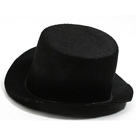 4 Black Flocked Felt Top Hats - Size: 5.5