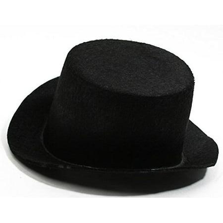 Factory Direct Crafts (4 Black Flocked Felt Top Hats - Size: 5.5