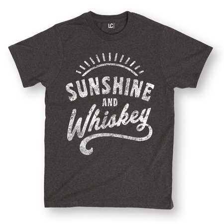 Sunshine And Whiskey Funny Summer Drinking Drunk Sunset Humor Whisky Mens (Drunk Drinking T-shirt)