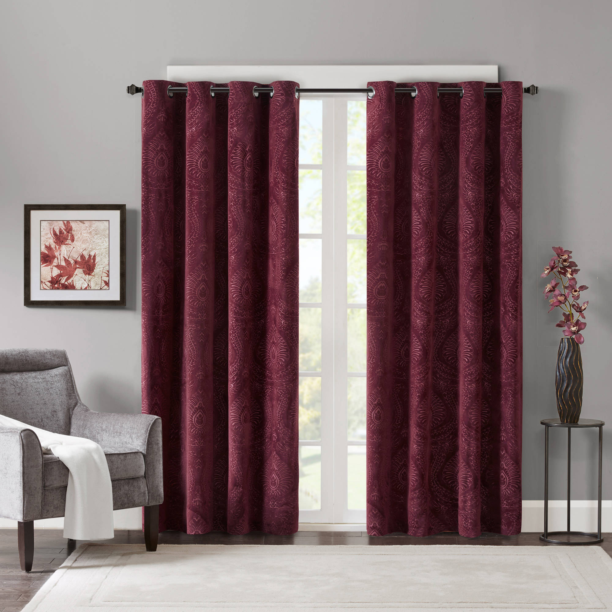 Home Essence Bergio Embossed Damask Velvet Panel, Polyester