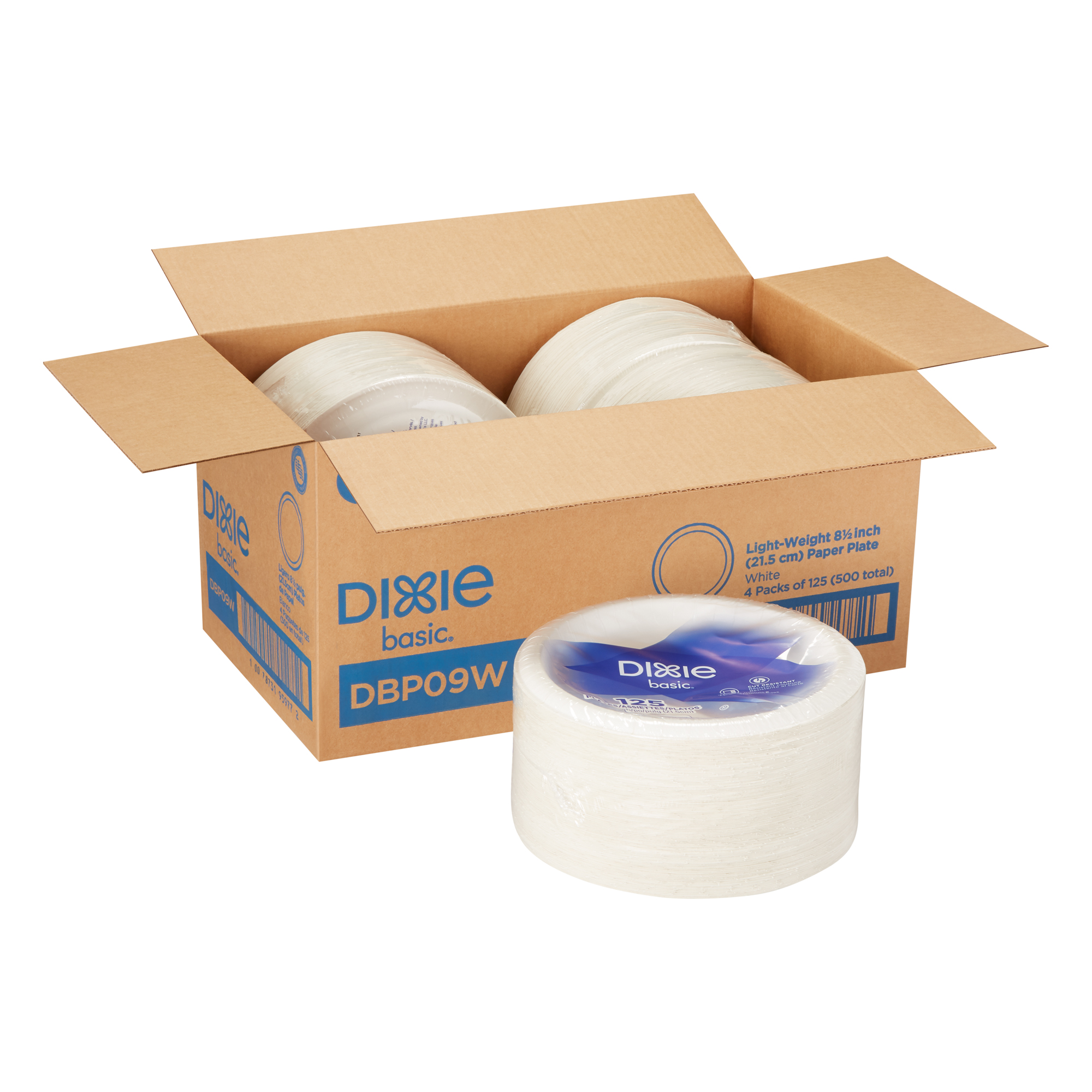 """125 Plates 500 Count 125 Plates Per Pack, 4 Packs Per Case 8 Pack Dixie Basic 9/"""" Light-Weight Paper Plates by GP PRO DBP09W Georgia-Pacific White"""