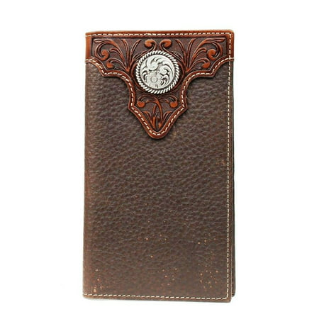 Ariat Tooled Overlay & Circle Concho Leather Rodeo Wallet, Chocolate Brown Brown Leather Rodeo Wallet