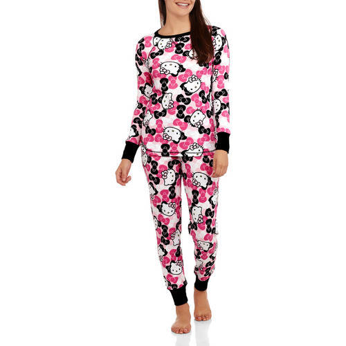 Hello Kitty Women's License Pajama Thermal Sleep Top and Pant 2 Piece Sleepwear Set