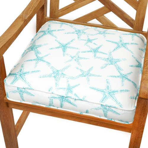 Humble And Haute Aqua Starfish 19 Inch Indoor Outdoor Corded Chair