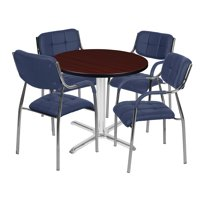 "Via 30"" Round X-Base Table- Mahogany/Chrome & 4 Uptown Side Chairs- Navy"