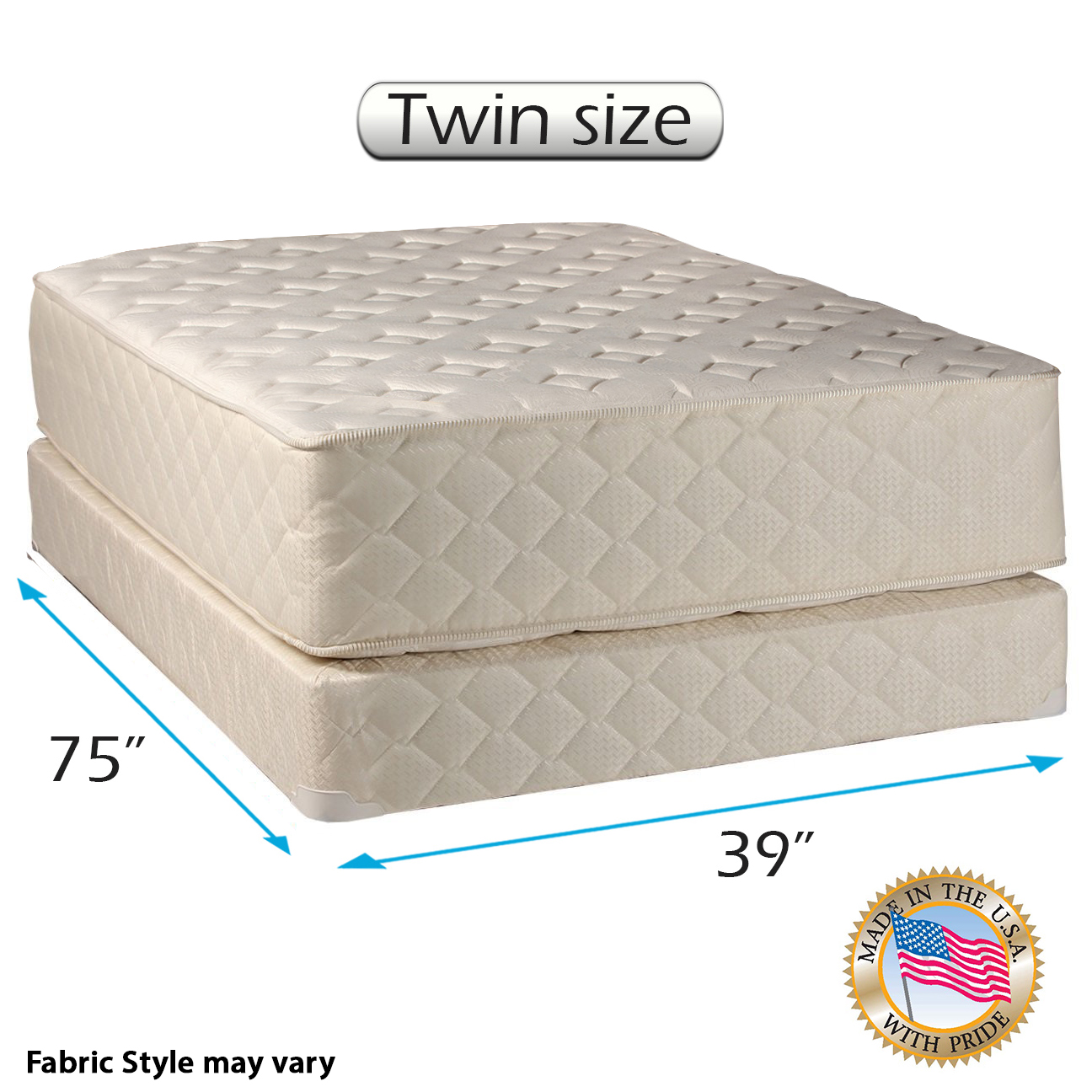 "Highlight Luxury Firm Twin Size (39""x75""x14"") Mattress & Box Spring Set - Fully Assembled - Spinal Back Support, Innerspring Coils, Premium edge guards, Longlasting Comfort - By Dream Solutions USA"