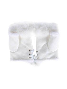 Nicesee Winter Women's fur Knitted Fingerless Gloves Soft Warm