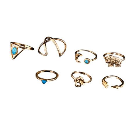 7 Pcs Women Stylish Bohemian Style Ring Retro Elegant Ring Ornament - image 7 of 7