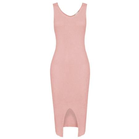 TAM WARE Women Elegant Front Slit Sleeveless Knit Bodycon Midi Dress