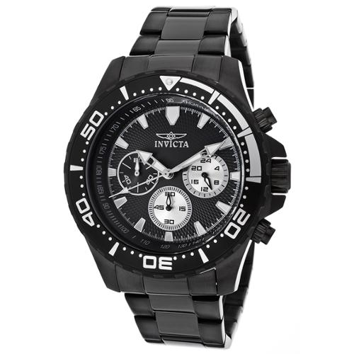 Invicta Men's 12919 Pro Diver Chronograph Black Textured Dial Black Ion-Plated Stainless Steel Watch