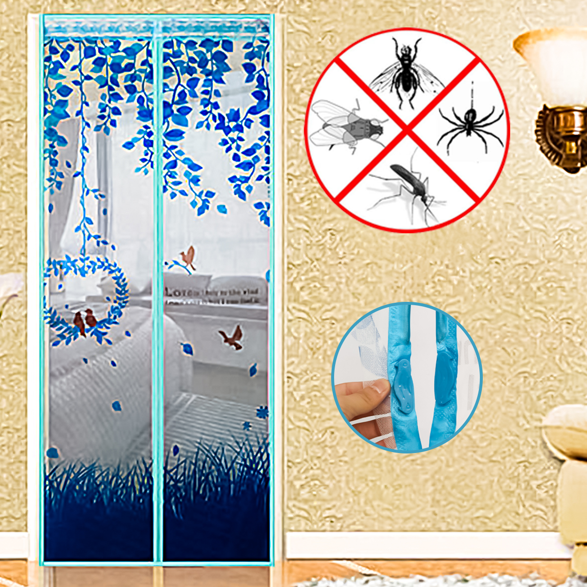 Magnetic Screen Door with Heavy Duty Magnets and Mesh Curtain by Everyday Home 4 Colors
