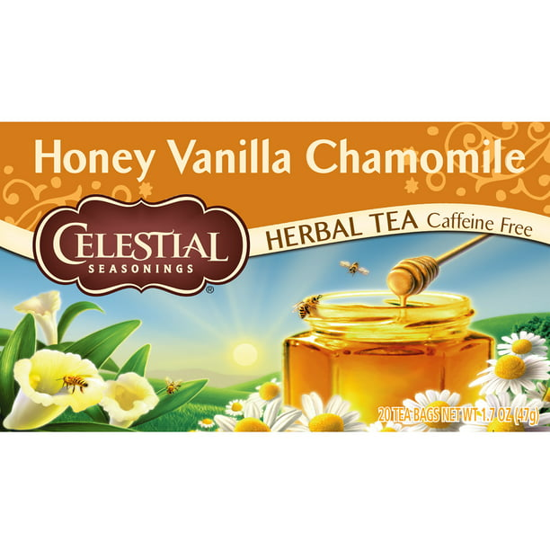 Celestial Seasonings, Honey Vanilla Chamomile Herbal Tea, Tea Bags, 20 Ct