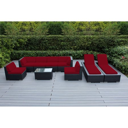Ohana 9 Piece Outdoor Wicker Patio Furniture Sectional Conversation Set With Chaise Lounges Black