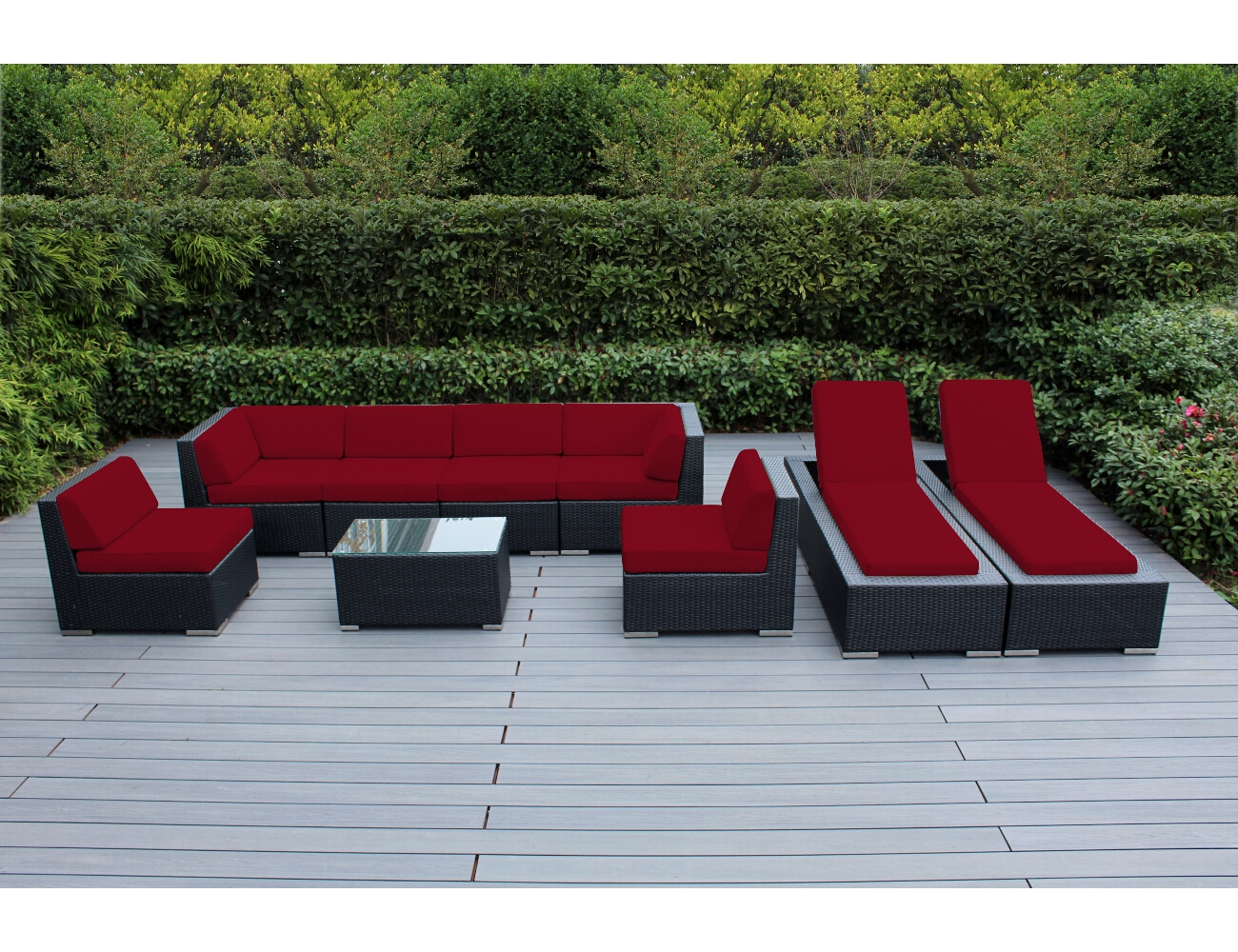 Ohana 9 Piece Outdoor Wicker Patio Furniture Sectional Conversation Set  With Chaise Lounges   Black Wicker