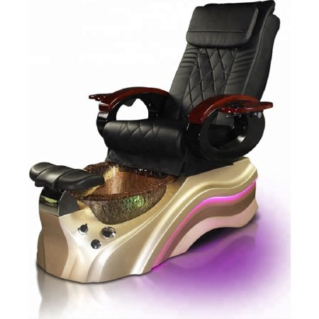Pedicure Foot Spa Salon Black Chair, Pipeless Jet, Gold Base Crystal Basin, Human Touch Shiatsu Massage, Synthetic Leather