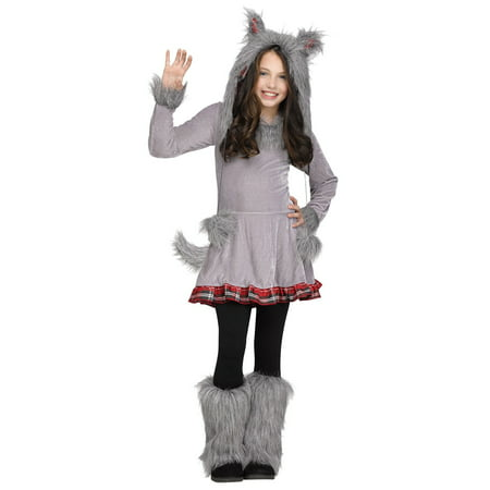 Wolf Cub Wolf Hood Ears Tail Girls Child Costume Medium 8-10